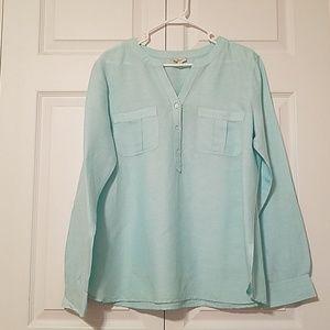 4 for $25 Talbots Mint Green Linen Shirt